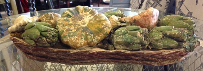 Rustic french stone basket with vegetables at The Pickled Hutch