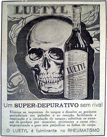 Propaganda do Depurativo Luetyl com uma chocante imagem de uma caveira.