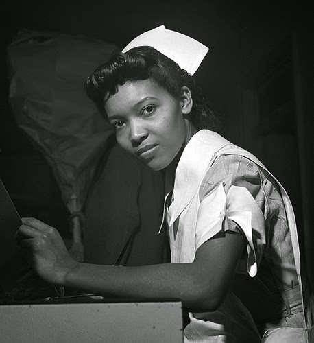 Lydia Monroe of Ringold, Louisiana, a student nurse at Provident Hospital in  Chicago, March 1942. (Public Domain photo provided by OnCall team)