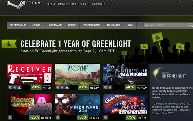 Steam GreenLight comemora um ano com desconto nos games
