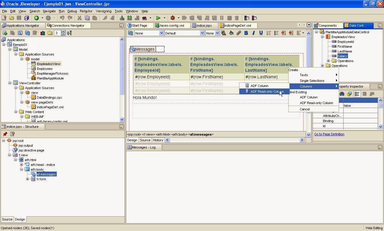arrastrar elemento data control palette como nueva columna