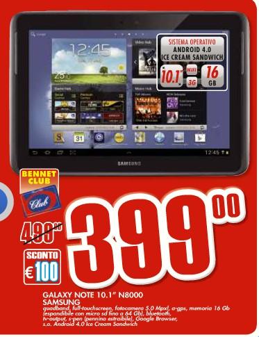 Promozione con sconto di 100 euro ai possessori della carta Bennet Club sul Galaxy Note 10.1 N8000