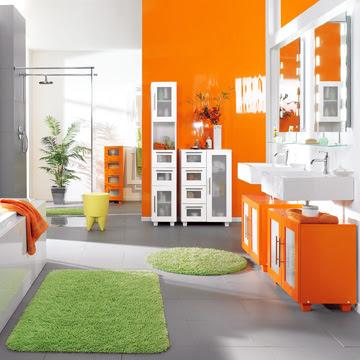 9 cuartos de ba o naranja ideas para decorar dise ar y for De que color se puede pintar un bano
