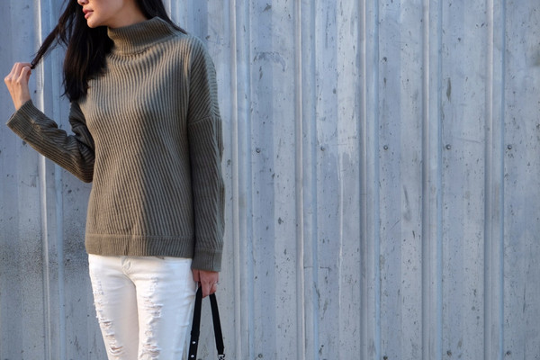 Isadora High Neck Knit Jumper -Khaki
