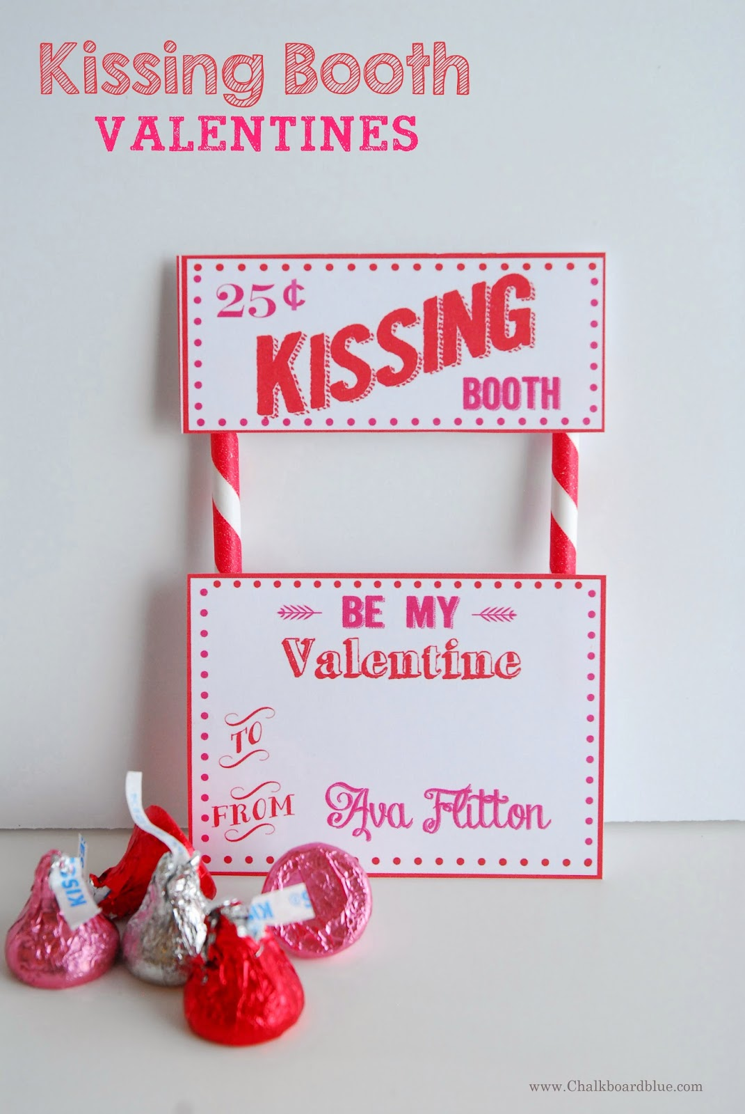 Chalkboard Blue Kissing Booth Valentines A Free Printable