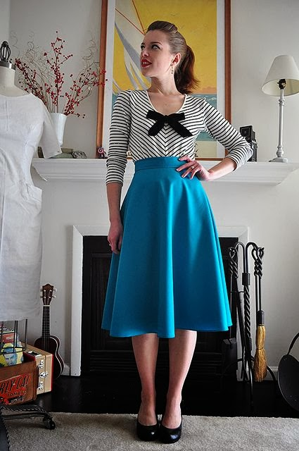 Black And White Shirt With Bow And Sky Blue Skirt
