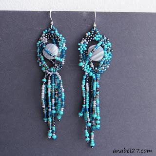 freeform earrings beading beadwork frreform peyote