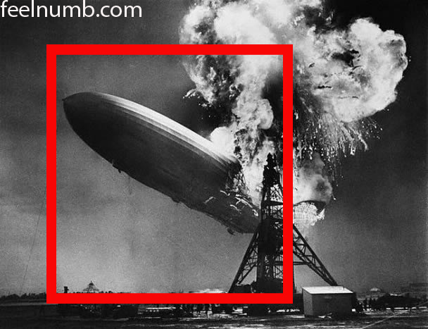 Accidente del dirigible Hindenburg en la portada de Led Zeppelin