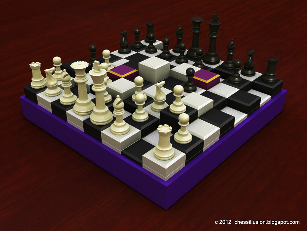 Chess illusion chess royal 3d alterable terrain chess - Multi level chess board ...