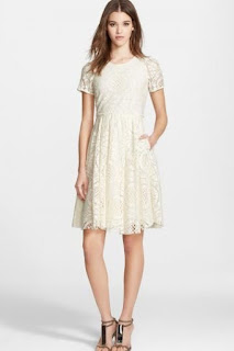 Burberry London 'Velma' Short Sleeve Lace Fit & Flare Dress