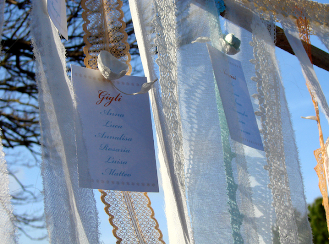 allestimento tableau di nastry per matrimonio in stile shabby chic , inspiration shoot
