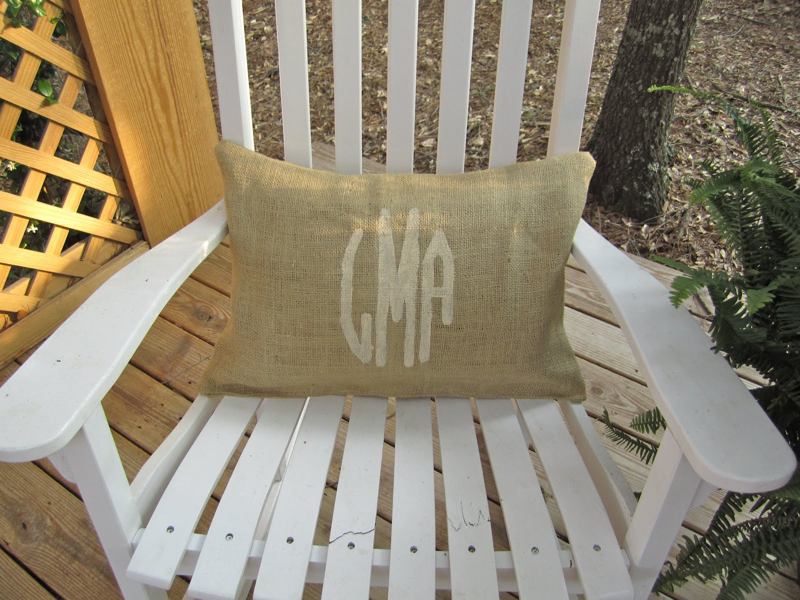 crafty couture  monogram burlap pillow