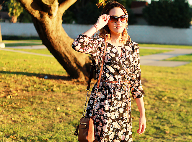 Fall floral skater dress