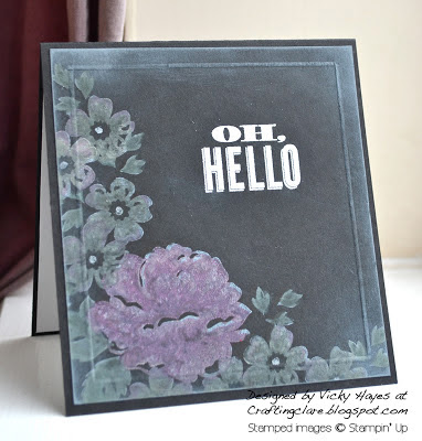Chalkboard technique using Stippled Blossoms from Stampin' Up