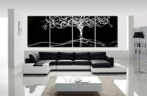 "ORIGINAL ABSTRACT PAINTING ""TREE OF LIFE BLACK & WHITE"" ONLY $250"
