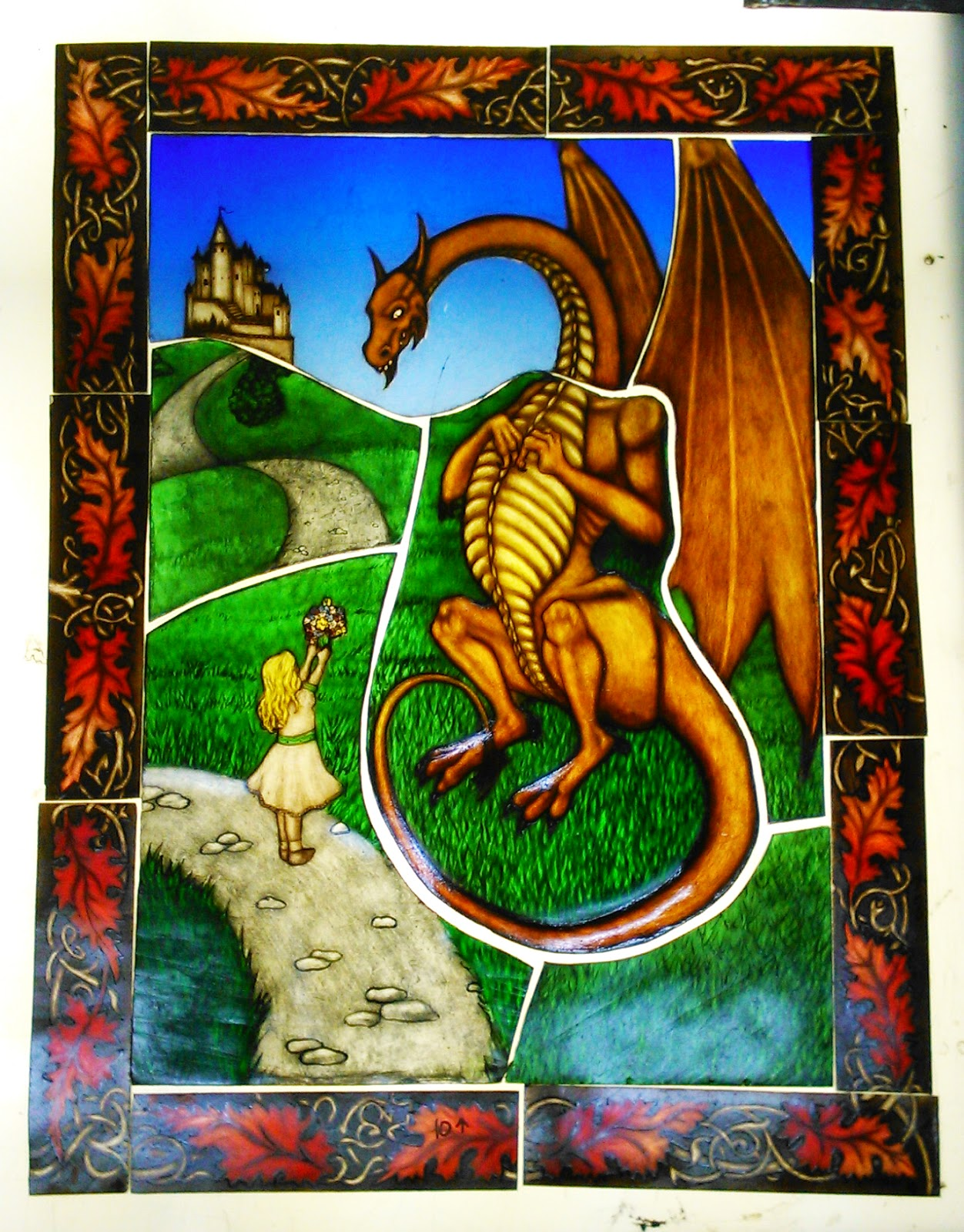 Dragon and Girl: acid-etched, painted, enamelled, and fired glass. By Maria McMahon, 2014