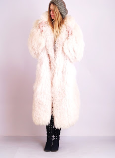 Vintage 1980's huge shaggy pink Mongolian fur coat.