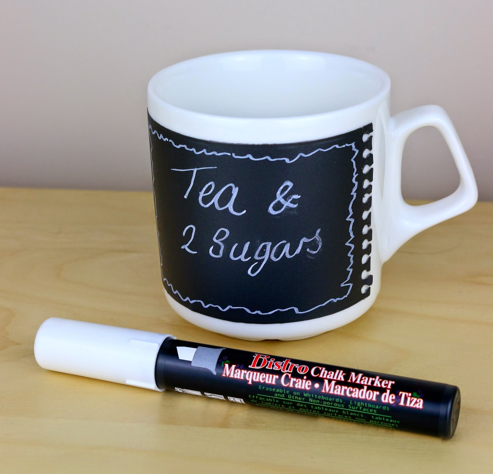 SRM Stickers Blog - Chalkboard Message Mug by Cathy A - #chalkboard #mug #gift #vinyl #whitechalkboardmarker #DIY