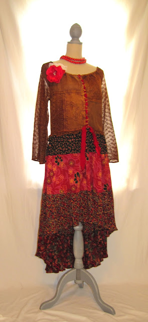 Boho Gypsy Style Spring Women's Dress, Bohemian Patterns and Colors