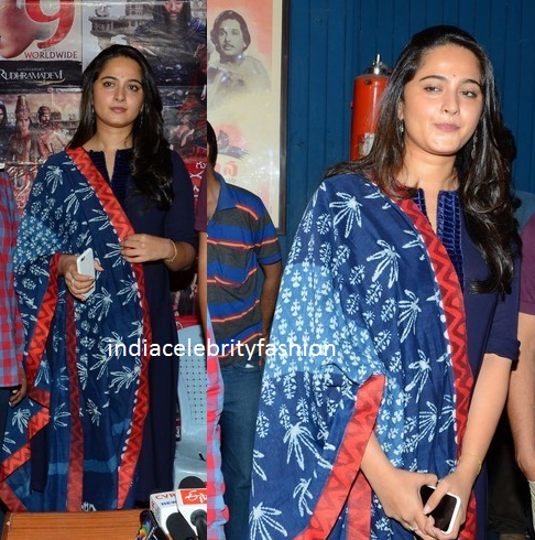 Anushka in Blue Salwar kameez at Rudhramadevi press meet