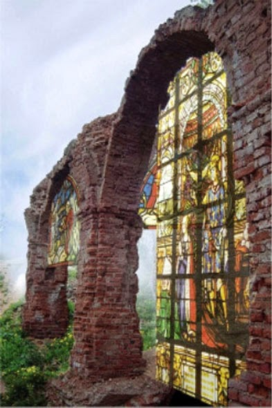 The ruined stained-glass windows of the Olshanskiy Castle - Belarus