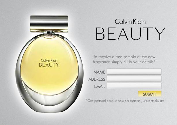 formulaire Échantillon Gratuit du parfum Beauty de Calvin Klein à recevoir chez vous