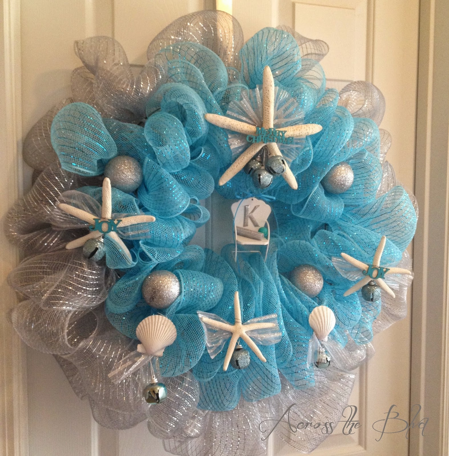 Coastal Christmas Deco Mesh  Wreath