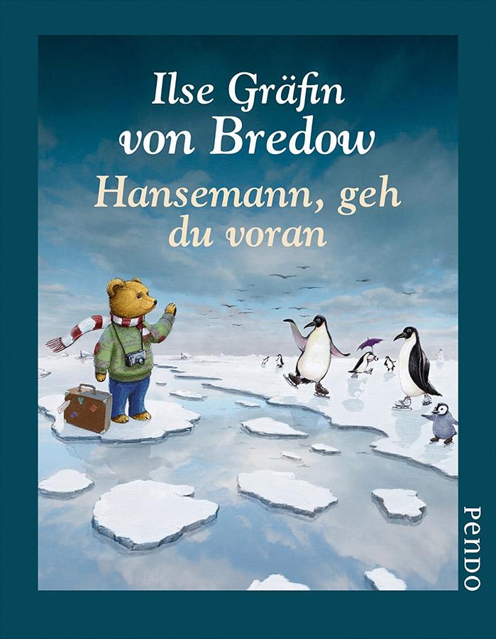 Cover und 7 farbige Illustrationen für das Buch Hansemann geh du voran von Ilse Gräfin von Bredow - Ein Teddybär mit Schal, kleidung und Koffer treibt auf einer Eisscholle an Pinguinen vorbei und winkt ihnen zu