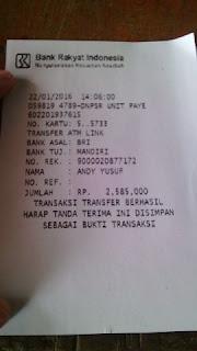 Bukti Transfer Andy Yusuf