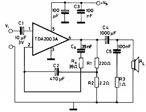 Electronic Circuit Diagrams  Tda 2003 10w Amplifier