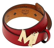 MCM GOLD M logo cognac belt.