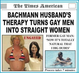 Bachmann's husband's therapy turns gay men into straight women
