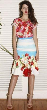 Isolda verão 2015 coleção Rouge Collection blusa e saia