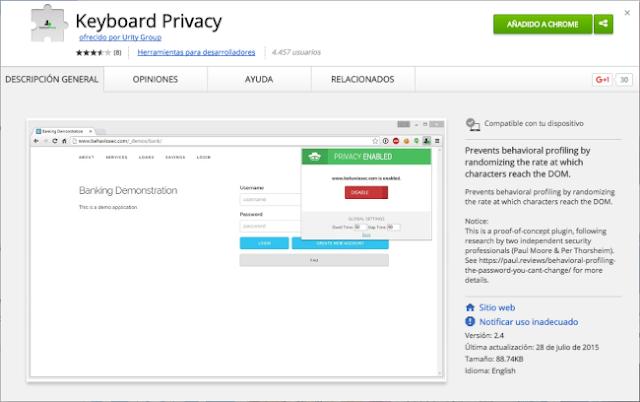Keyboard Privacy: la extensión de Chrome que esconde tus patrones de escritura