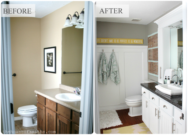 Elegant Small Master Bathroom Remodel with Stylish Affordable Countertop Storage
