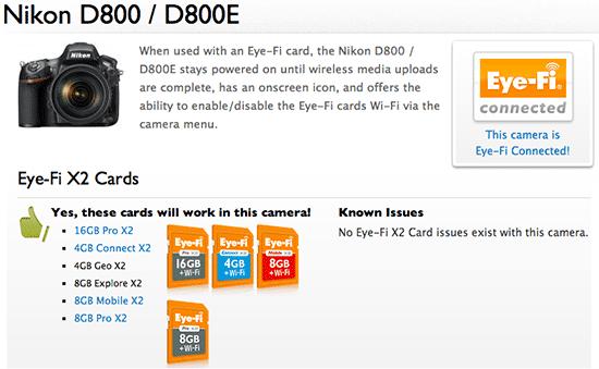 Eye-Fi, nikon D800, D800E, actualización, wi-fi tarjeta, tarjeta sd con wi-fi