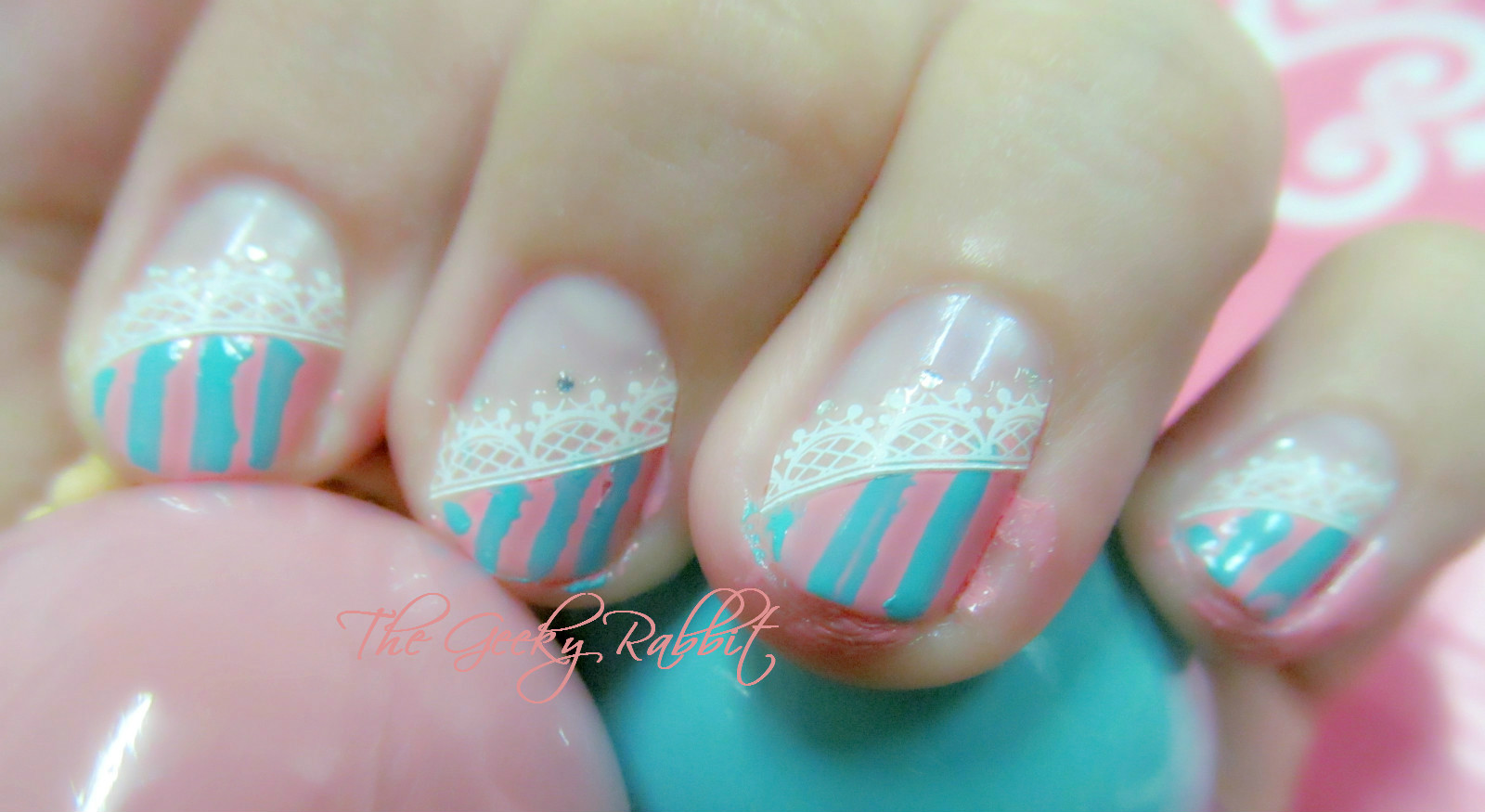 The geeky rabbit etude house ice cream nails with lace nail art etude house ice cream nails with lace nail art tutorial prinsesfo Image collections