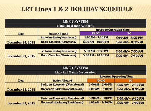 LRT Schedule Christmas Holidays 2015