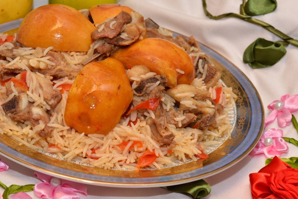 The art of uzbek cuisine behi palov pilaf with quinces for Art cuisine stone cookware