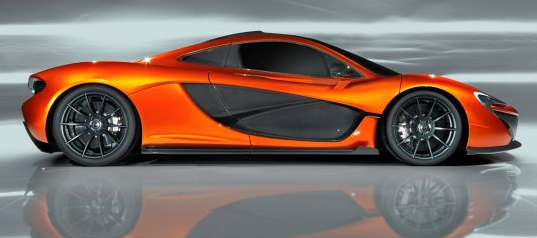 exterior of the mclaren p1 supercar side-view sports car convertible