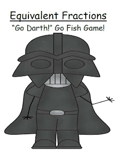 "Picture of Equivalent Fractions Common Core ~ Star Wars Go Fish Game ""Go Darth!"" FREEBIE!"