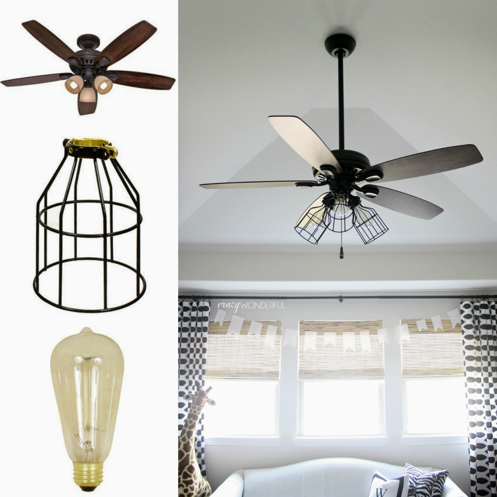 DIY Cage Light Ceiling Fan Crazy Wonderful - White kitchen ceiling fan with light