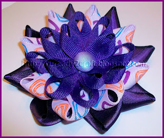 Purple Gardenia Flower Hair Bow handmade