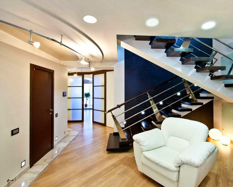 interior metal stairs - steel handrails