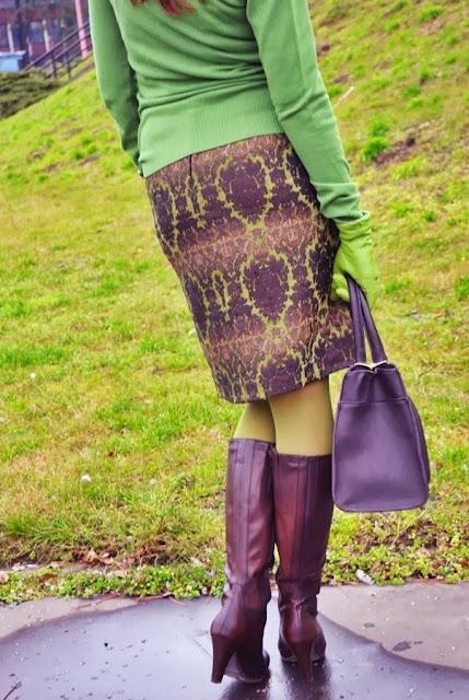 JACQUARD - The Grace within easy reach_Katharine-fashion is beautiful_Žakárová sukňa_Zelené kožené rukavice_Olivové pančuchy_Katarína Jakubčová_Fashion blogger