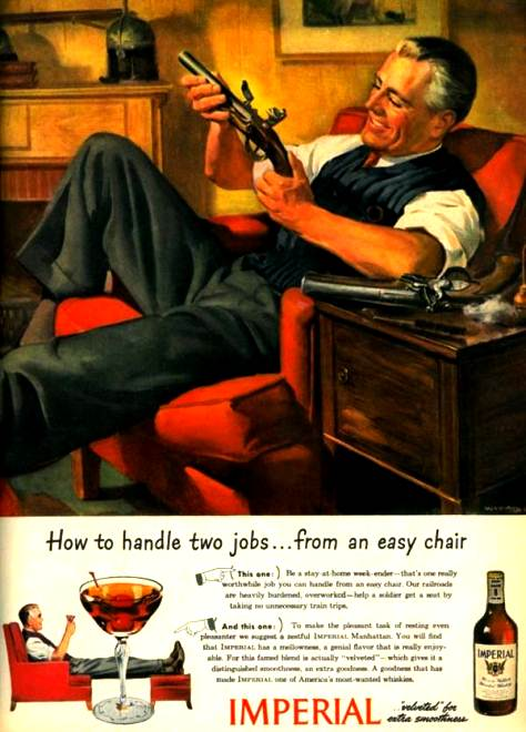 Propaganda da Bebida Imperial que misturava o consumo da bebida alcoólica com o porte de arma.