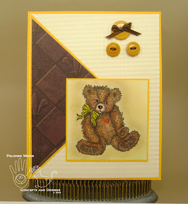 Picture of handmade Yellow Teddy Bear Card