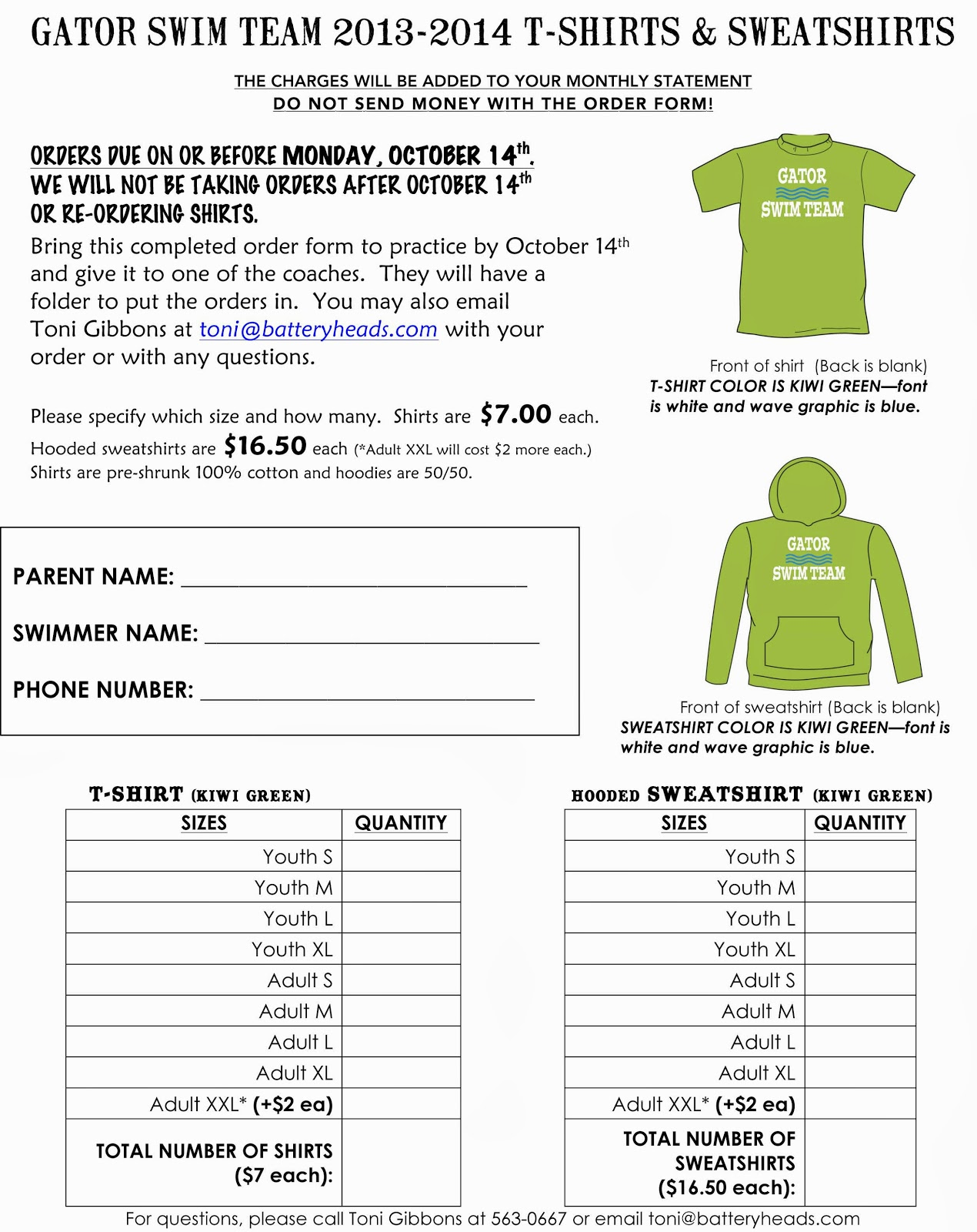 shirt order form templates