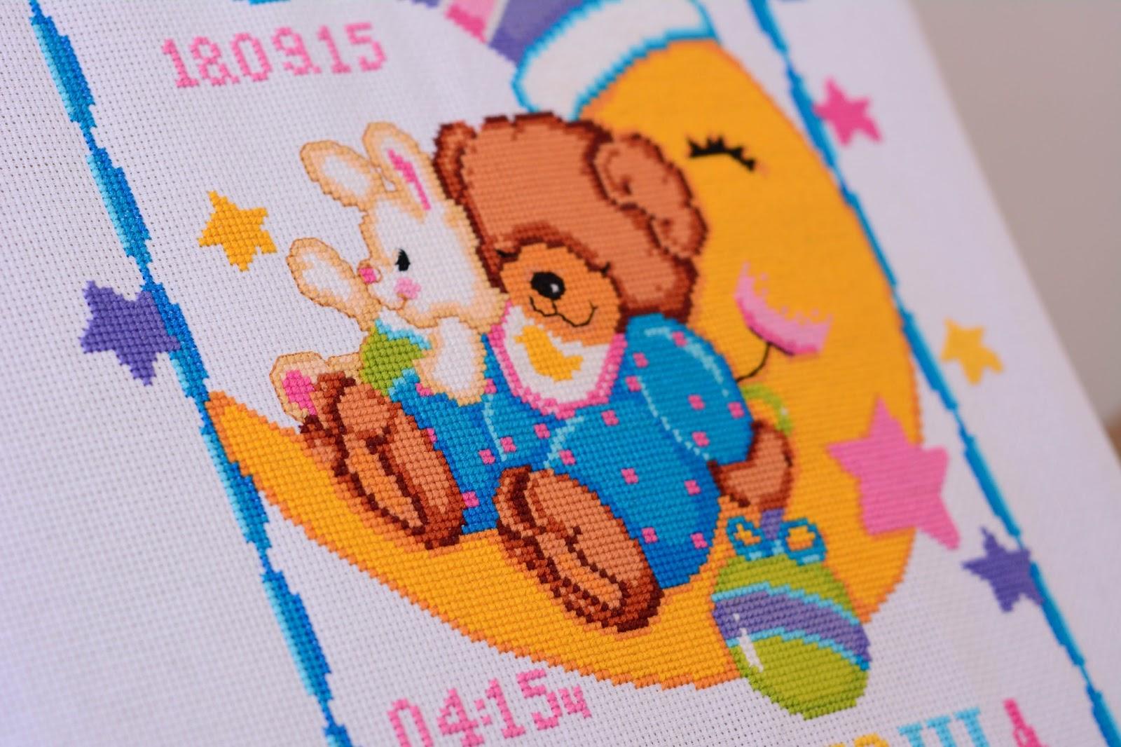 Вышивка с мишкой для метрики 928