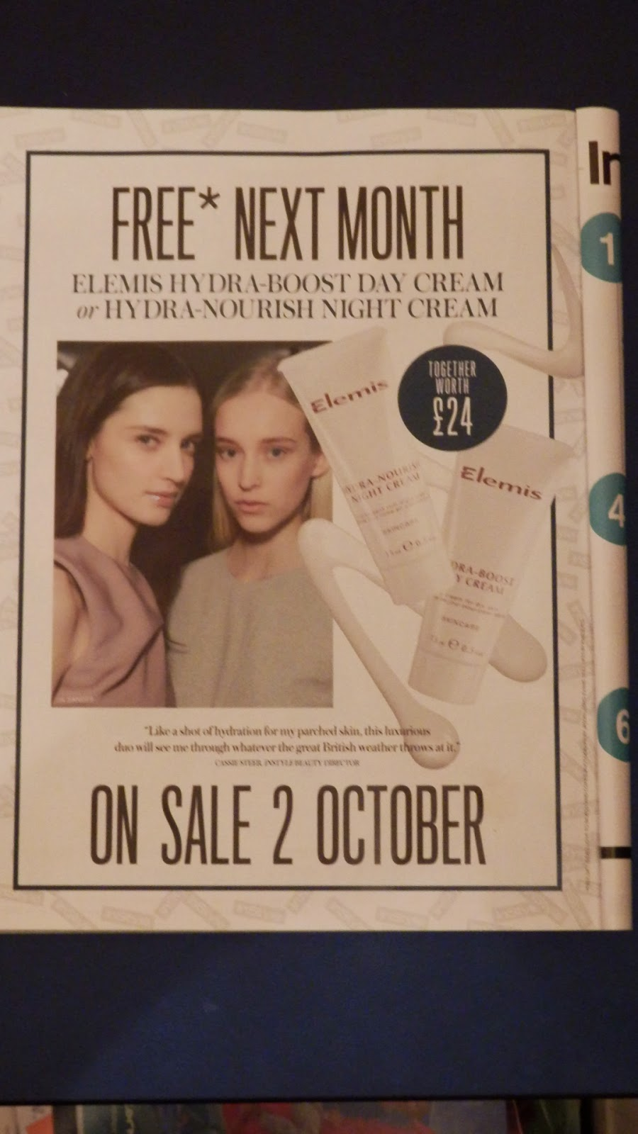 InStyle Magazine November 2014 Edition Freebies Elemis Hydra-Boost Day Cream or Hydra-Nourish Night Cream